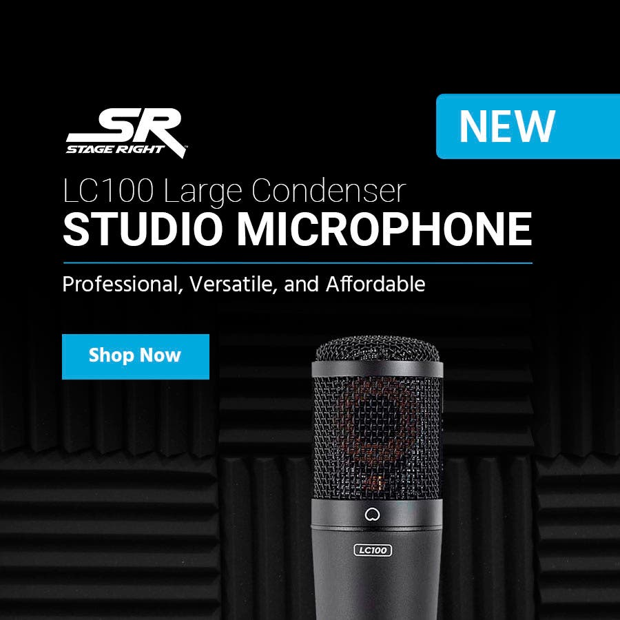 Stage Right logo  LC100 Large Condenser Studio Microphone  Professional, Versatile, and Affordable Shop Now