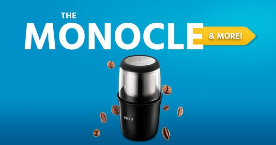 The Monocle. & More One Day. One Deal. Electric Coffee Grinder Portable Coffee Grinder with Stainless Steel Blade Removable Coffee Powder Bowl Up to 12 Cups $19.99 + Free Standard US Shipping Ends 07/