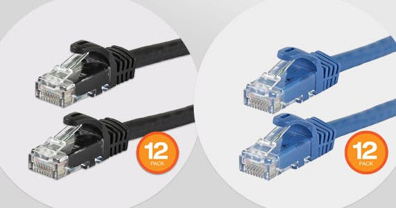 FLEXboot Cat6 Ethernet Patch Cables, 12-Pack Lengths: 0.5ft to 7ft