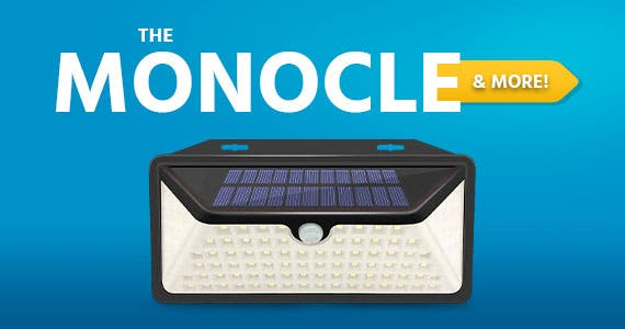 The Monocle & More. One Day. One Deal.Outdoor Solar Porch Light 102 LEDs | $14.99 + Free Standard US Shipping