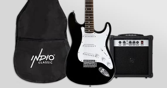 Back in Stock Indio by Monoprice (Indio logo)  Cali Complete Electric Guitar Package Includes Amp & Accessories Ideal for Beginners ONLY $129.99 Free Standard US Shipping Shop Now