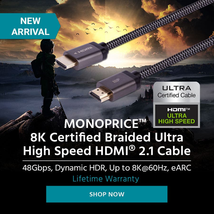 NEW ARRIVAL Monoprice 8K Certified Braided Ultra High Speed HDMI 2.1 Cable 48Gbps, Dynamic HDR, Up to 8K@60Hz, eARC Lifetime Warranty