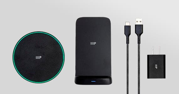 NEW ARRIVALS Monoprice Qi Certified 15W Fast Wireless Charging Pad & Stand Bundles 5/7.5/10/15 WattsIncluded QC Wall Adapter