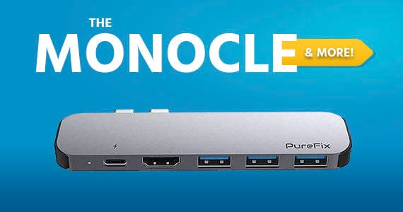The Monocle. & MoreOne Day. One Deal.Pure Fix 6 in 1 Premium Dual HDMI USB C Hub Adapter for MacBook Pro 2017 2018 2019 MacBook Air 2018 2019 Ultra Slim (Space Gray)$38.99 + Free Standard US Shipping