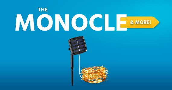 The Monocle. & More One Day. One Deal Solar Powered String Light 32ft Copper Wire Lights, Warm White 100 LED Fairy Lights, Indoor Outdoor Waterproof Solar light $9.99 + Free Standard US Shipping Ends