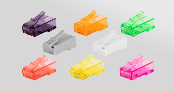 8P8C RJ45 Plugs only $6, 100 pcs of 8P8C RJ45 Plug with Inserts for Solid Cat6 Ethernet Cable, Select Colors