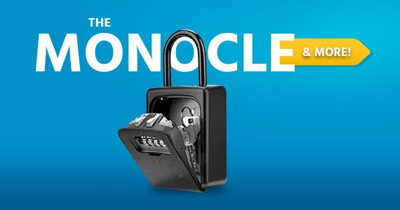 The Monocle. & More One Day. One Deal. Lock Box, 4 Digit Combination Key Storage Lock Box for Door, House, Hotels, Realtors, Contractors (Black) $17.99 + Free Standard US Shipping Ends 04/12/21 While