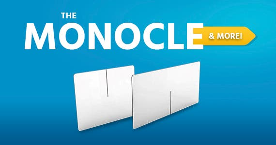 "The Monocle. & More One Day. One Deal. Sneeze Guard Table Divider, 1/4"" Thick Acrylic, 47.5""W x 47.5""L x 23.5""H - 4 Persons Clear Acrylic Shield for Cafeteria, Office, School, Restaurant, Break Room,"