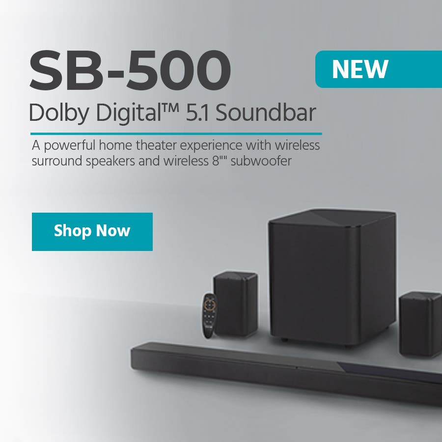"NEW (tag) SB-500 Dolby Digital™ 5.1 Soundbar A powerful home theater experience with wireless surround speakers and wireless 8"""" subwoofer Shop Now"