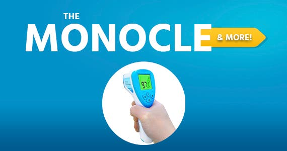 The Monocle. & More One Day. One Deal. Non-Contact Infrared digital Thermometer with LCD Display, safe for baby, Kids and Adults Blue $12.99 + Free Shipping Ends 04/20/21 While Supplies Last