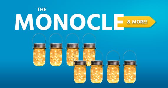 The Monocle & More One Day. One Deal Solar Mason Jar Lights,8 Pack 30 Led Hanging String Fairy Jar Solar Lantern Lights for Outdoor Patio Garden Yard and Lawn Decoration $29.99 + Free Shipping