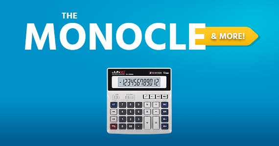 The Monocle. & More One Day. One Deal. Calculator Standard Function Scientific Electronics Desktop Calculators, Dual Power, Big Button 12 Digit Large LCD for office $6.99 + Free Shipping