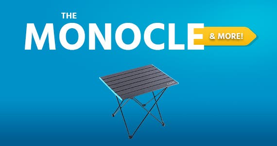 "The Monocle. & More One Day. One Deal. Foldable Portable Aluminum Table with Carry Bag for Outdoor Camping, Hiking and Picnic 21""x16""x18""  $24.99 + Free Standard US Shipping Ends 05/18/21"