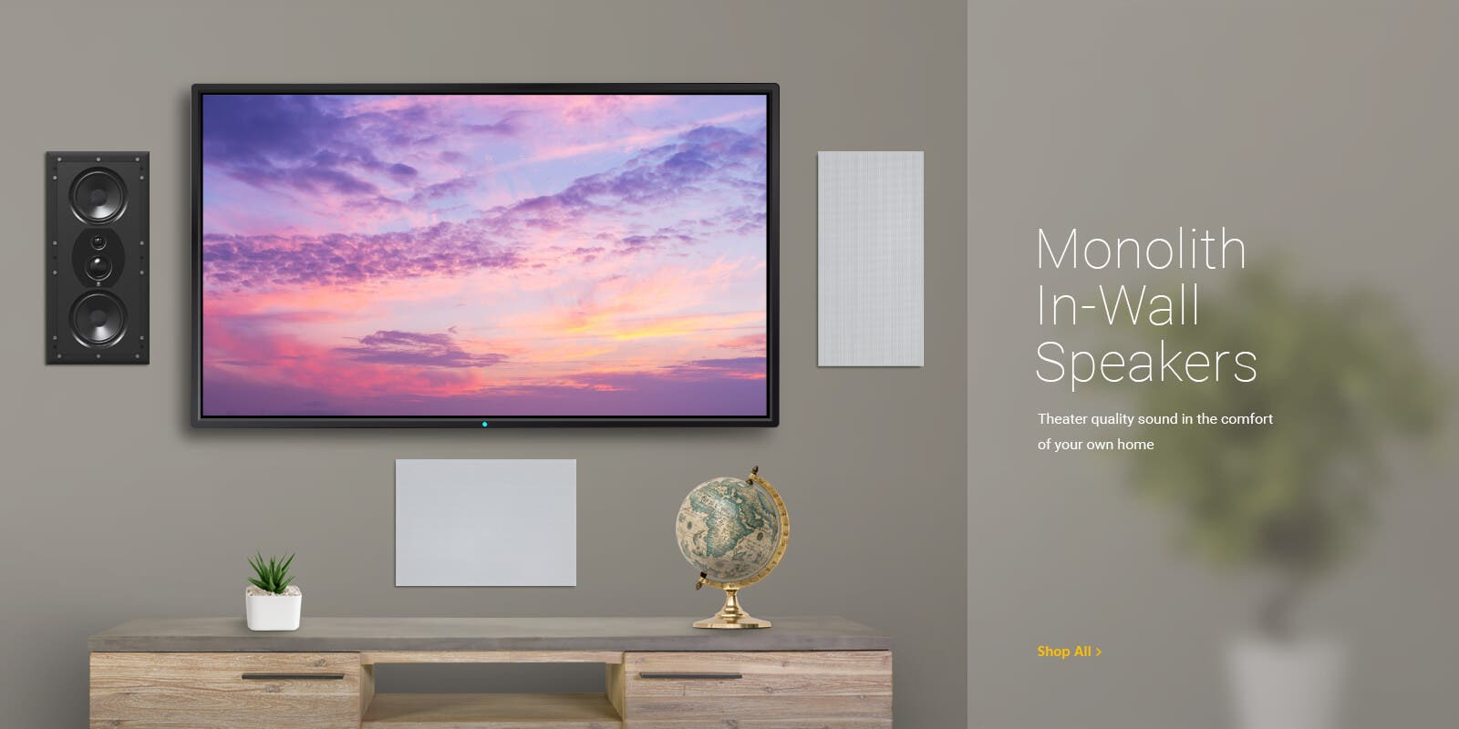 Monolith In-Wall Speakers, theater quality sound in the comfort of your own home. Shop All