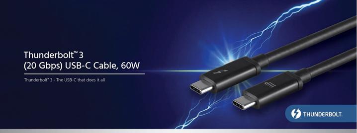 Thunderbolt 3 (20gbps) USB-C Cable, 60W - Thunderbolt 3 - The USB-C that does it all - Thunderbolt