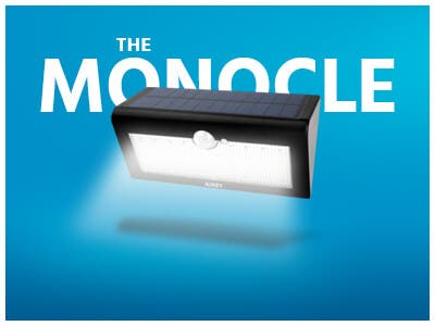The Monocle. One Weekend One Deal, AUKEY Solar Light Outdoor, 36 LED Wall Mounted Light | $9.99 + Free Standard US Shipping, shop now