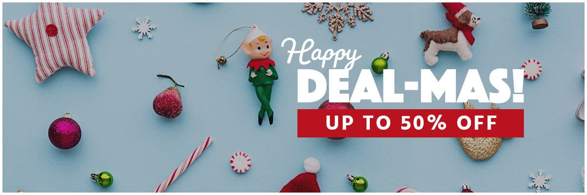 Happy Dealmas, up to 50% off, holidays are here, gifts for all, limited time offer,shop now