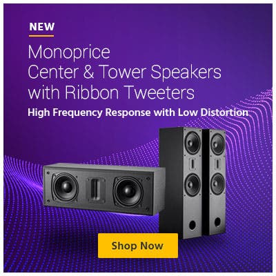 New, Monoprice central and tower speakers with ribbon tweeters. high frequency response with low distortion