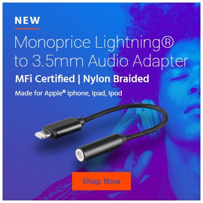 New Monoprice Lightning® to 3.5mm Audio Adapter MFi Certified | Nylon Braided | Made for Apple® Iphone, Ipad, Ipod. Shop Now