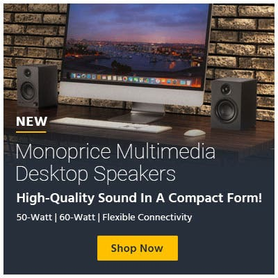 New, Monoprice Multimedia Desktop Speakers High-Quality Sound In A Compact Form! 50-Watt | 60-Watt | Flexible Connectivity  Shop Now