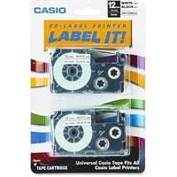 "Casio Label Printer Tape - 0.47"" Length - Direct Thermal - White - 2 / Pack"