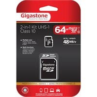 Gigastone 64 GB microSDXC - Class 10/UHS-I - 48 MB/s Read