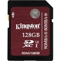 Kingston 128 GB SDXC - Class 10/UHS-I (U3) - 90 MB/s Read - 80 MB/s Write