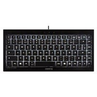 Cherry Backlit Compact Keyboard - Cable Connectivity - USB Interface - 88 Key - English (US) - QWERTY Keys Layout - Scissors - Black