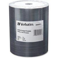 Verbatim DVD-R 4.7GB 16X DataLifePlus White Inkjet Printable, Hub Printable - 100pk Tape Wrap - Inkjet Printable