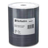 Verbatim CD-R 700MB 52X White Inkjet Printable, Hub Printable - 100pk Tape Wrap - 700MB - 120mm Standard - 100 Pack
