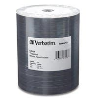 Verbatim CD-R 700MB 52X DataLifePlus White Thermal Printable, Hub Printable - 100pk Tape Wrap - 700MB - 120mm Standard - 100 Pack