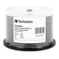 Verbatim DVD+R 4.7GB 8X DataLifePlus White Inkjet Printable, Hub Printable - 50pk Spindle - TAA Compliant - Inkjet Printable