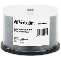 Verbatim CD-R 700MB 52X DataLifePlus White Inkjet Printable, Hub Printable - 50pk Spindle - Printable - Inkjet Printable