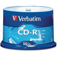 Verbatim CD-R 700MB 52X with Branded Surface - 50pk Spindle - 1.33 Hour Maximum Recording Time
