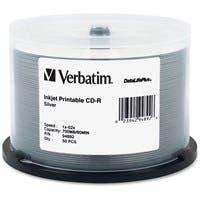 Verbatim CD-R 700MB 52X DataLifePlus Silver Inkjet Printable - 50pk Spindle - Printable - Inkjet Printable