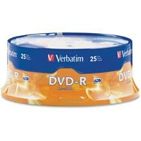 Verbatim AZO DVD-R 4.7GB 16X with Branded Surface - 25pk Spindle - 2 Hour Maximum Recording Time