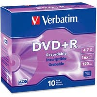 Verbatim AZO DVD+R 4.7GB 16X with Branded Surface - 10pk Slim Case - 2 Hour Maximum Recording Time
