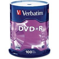 Verbatim AZO DVD+R 4.7GB 16X with Branded Surface - 100pk Spindle - 2 Hour Maximum Recording Time
