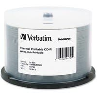 Verbatim CD-R 700MB 52X DataLifePlus White Thermal Printable, Hub Printable - 50pk Spindle - Printable - Thermal Printable