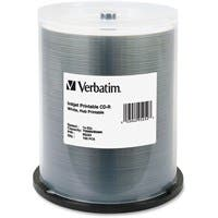 Verbatim CD-R 700MB 52X White Inkjet Printable, Hub Printable - 100pk Spindle - Printable - Inkjet Printable
