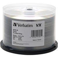 Verbatim DVD-R 4.7GB 16X VX Shiny Silver Silk Screen Printable - 50pk Spindle - TAA Compliant - 120mm - 2 Hour Maximum Recording Time