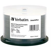 Verbatim BD-R 25GB 6X DataLifePlus White Thermal Printable, Hub Printable - 50pk Spindle - TAA Compliant - 25GB - 50pk Spindle