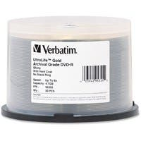 Verbatim DVD-R 4.7GB 16X UltraLife Gold Archival Grade with Branded Surface and Hard Coat - 50pk Spindle