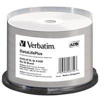 Verbatim DVD+R DL 8.5GB 8X DataLifePlus White Thermal Printable, Hub Printable - 50pk Spindle - 120mm - Printable - Thermal Printable