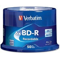 Verbatim BD-R 25GB 6X with Branded Surface - 50pk Spindle - TAA Compliant - 50pk Spindle