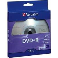 Verbatim DVD+R 4.7GB 16X with Branded Surface - 10pk Bulk Box - TAA Compliant - 120mm - 2 Hour Maximum Recording Time