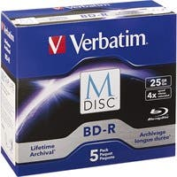 Verbatim M-Disc BD-R 25GB 4X with Branded Surface - 5pk Jewel Case Box - TAA Compliant - 120mm