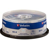 Verbatim M-Disc BD-R 25GB 4X with Branded Surface - 25pk Spindle - TAA Compliant - 120mm