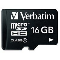 Product image for Verbatim 16GB MicroSDHC Memory Card with Adapter, Class 4 - Class 4...