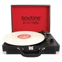 boytone Mobile Briefcase Turntable BT-101TBBK - Belt Drive - 33.3, 45, 78 rpm - Black